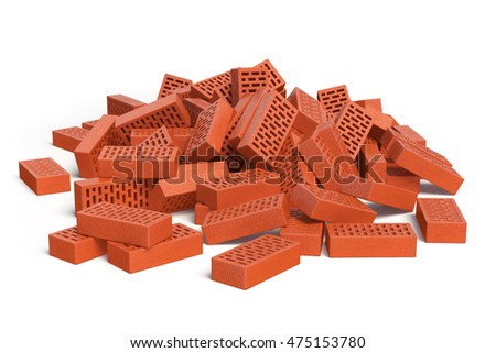 Pile Of Bricks Isolated On White Construction Concept 3d Illustration