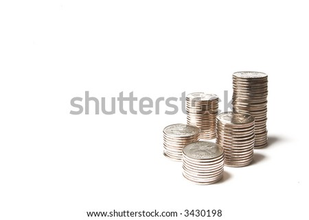 pile of brilliant metallic coins on a white background