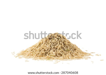 Pile of brown basmati rice isolated on white background - stock photo