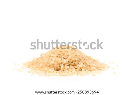 Pile of Brown Rice Isolated on a White Background - stock photo