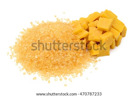 pile of brown sugar isolated on white background
