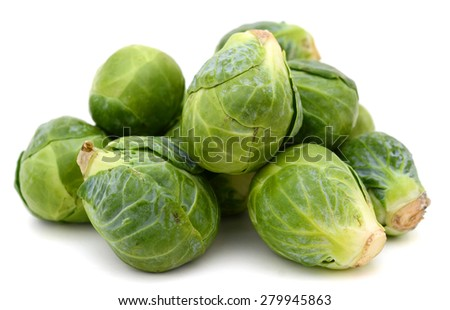 pile of brussel sprouts isolated on white