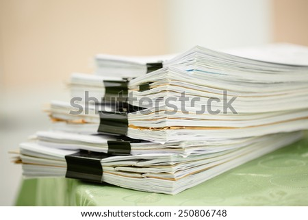 Pile of business paper files - stock photo
