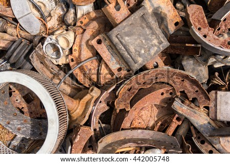 Pile of car parts - stock photo