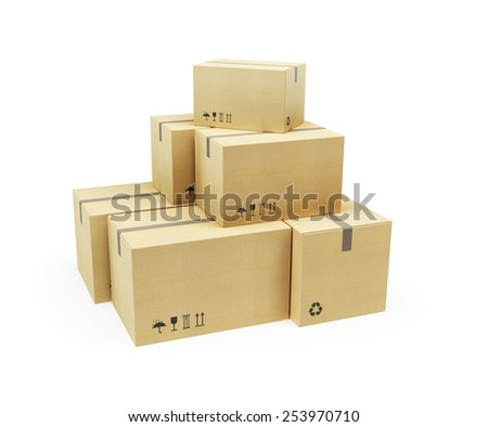 pile of cardboard box, 3d render - stock photo