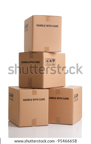 Pile of cardboard boxes ready to be shipped isolated on white background - stock photo