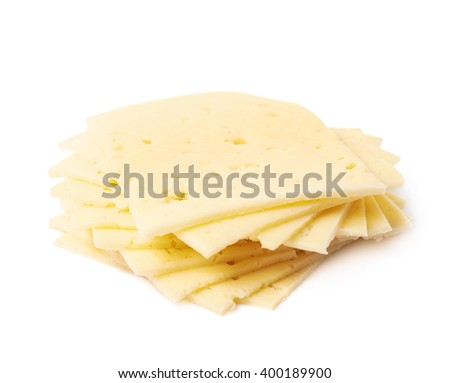 Pile of cheese slices isolated - stock photo