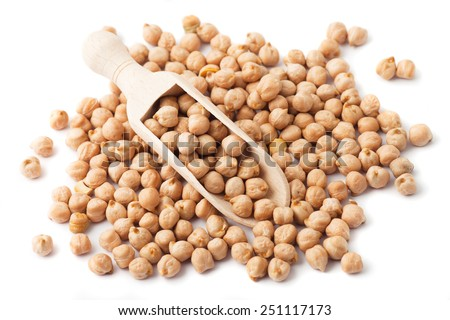 Pile of chickpea seed isolated on white background