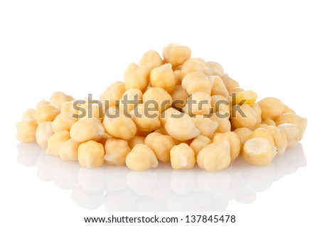 Pile of chickpeas against white background