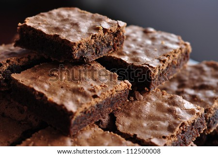 Pile of Chocolate Brownies - stock photo