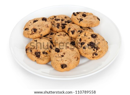 Pile of chocolate chip cookies on a dish isolated on white background - stock photo