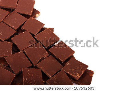 Pile of Chocolate chunks isolated against a white background
