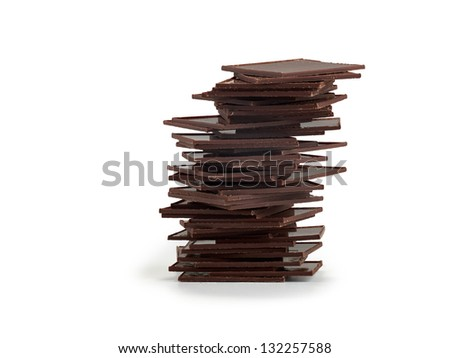 Pile of Chocolate chunks isolated against a white background.