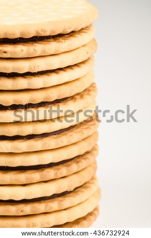 Pile of chocolate filled biscuits