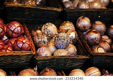 Pile of christmas decoration in basket - stock photo