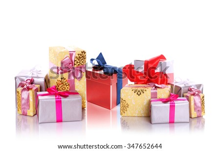 pile of christmas gifts isolated on white - stock photo