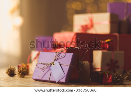 Pile of Christmas presents and gift boxes - stock photo