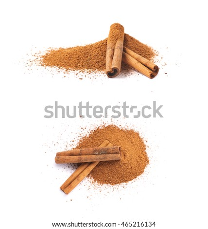 Pile of cinnamon powder with the raw bark sticks on top of it, composition isolated over the white background, set of two different foreshortenings