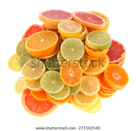 Pile of citrus fruits on white
