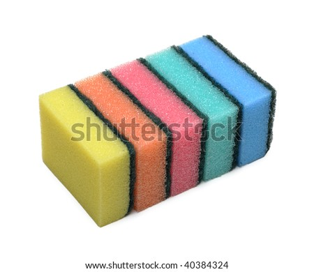 Pile of cleaning colored sponge, isolated on the white background