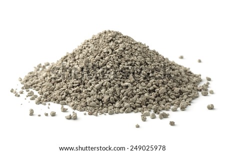 Pile of clumping cat litter isolated on white - stock photo