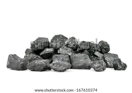 Pile of coal isolated on white background. - stock photo