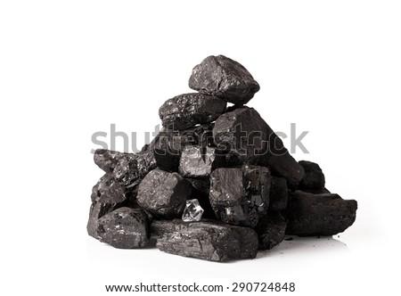 Pile of coal isolated on white background  - stock photo