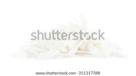 Pile of coconut's chips isolated over the white background - stock photo