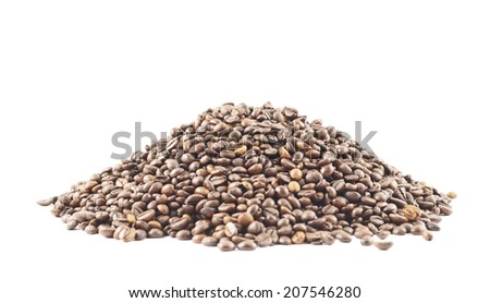 Pile of coffee beans isolated over white background, side view - stock photo