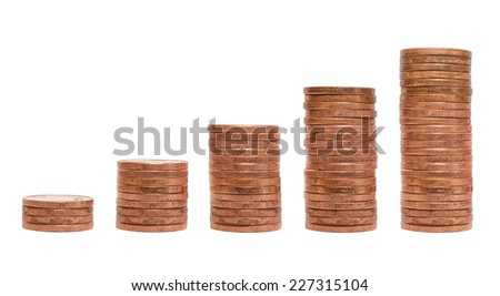 Pile of coins chart isolated on white background - stock photo