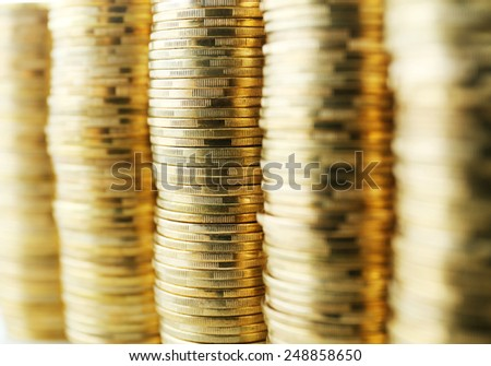 Pile of coins close up - stock photo