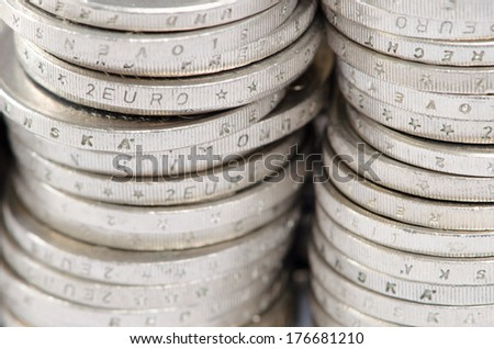 pile of coins detail image - stock photo