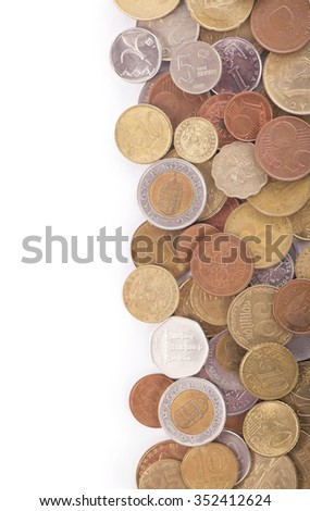 Pile of coins growing on white background - stock photo
