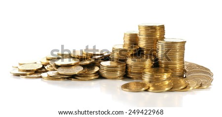 Pile of coins isolated on white - stock photo