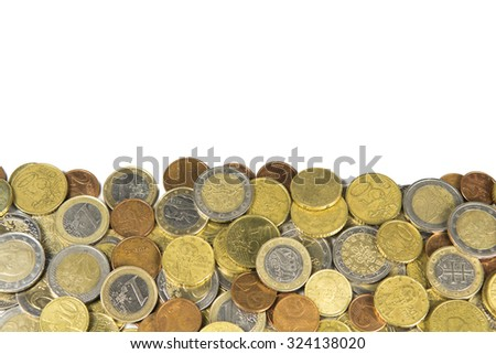 pile of coins, isolated on white - stock photo