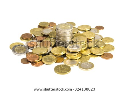 pile of coins, isolated on white