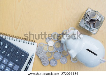 pile of Coins save money concept - stock photo