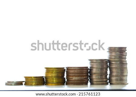 pile of coins shooting in studio and white background