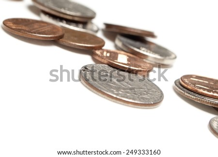 Pile of Coins, White Background