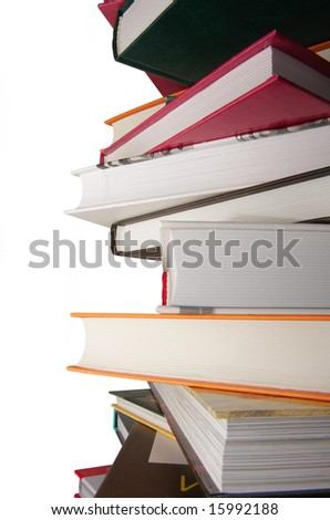 pile of color books on the isolated background - stock photo