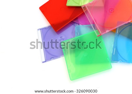 pile of color cd case - stock photo