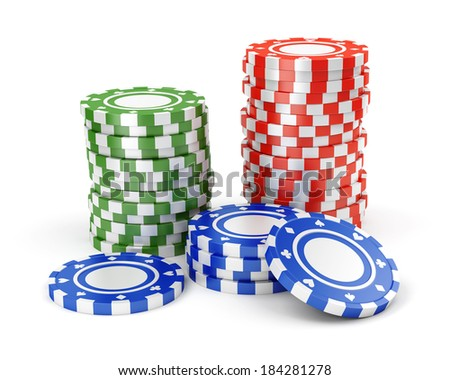 Pile of color green, red and blue casino tokens isolated on white background - stock photo