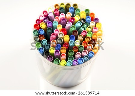 Pile of color soft-tip pens - stock photo