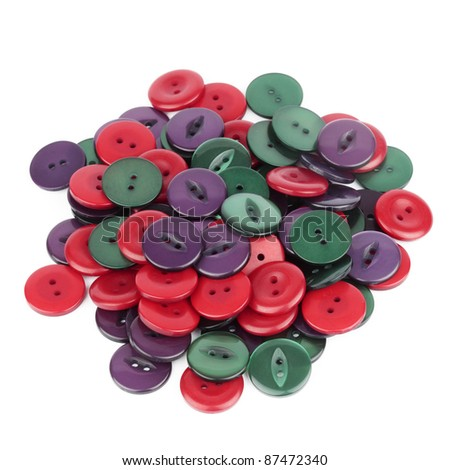 Pile of Colorful Buttons - stock photo
