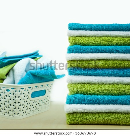 Pile of colorful clean towels.