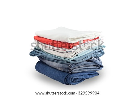 Pile of colorful clothes and Beautiful summer isolated on white background with clipping path - stock photo