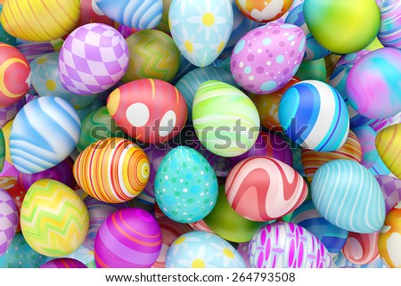 Pile of colorful Easter eggs - stock photo