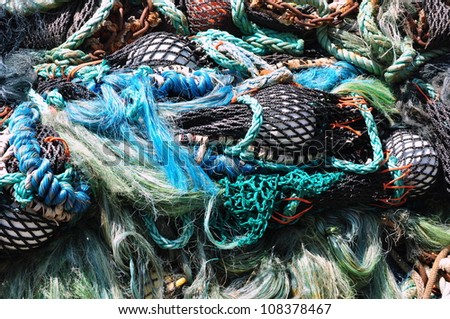 Pile of colorful fishing net