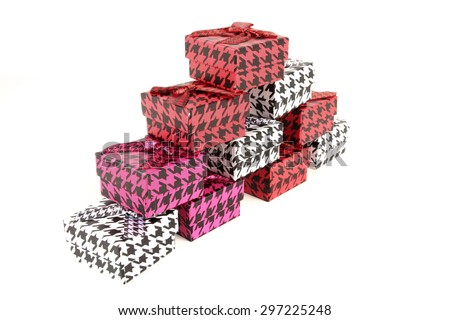 Pile of colorful gifts on white background - stock photo