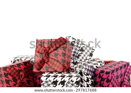 Pile of colorful gifts on white background